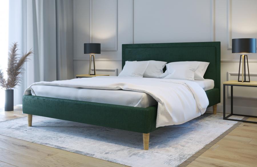 Łóżko tapicerowane HORTEN zielone monolith