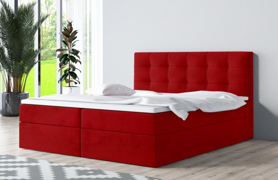 Łóżko kontynentalne ASKIM czerwone casablanca