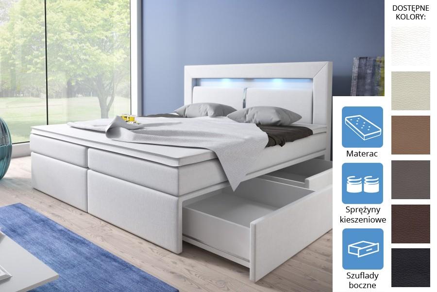 Łóżko Dakota z szufladami bocznymi Pocket
