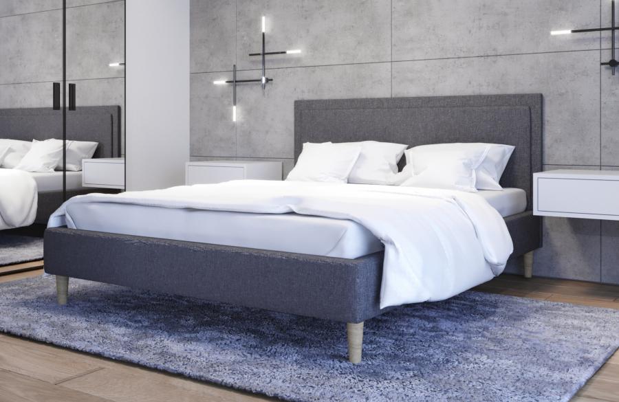 Łóżko tapicerowane HORTEN ciemnoszare sawana