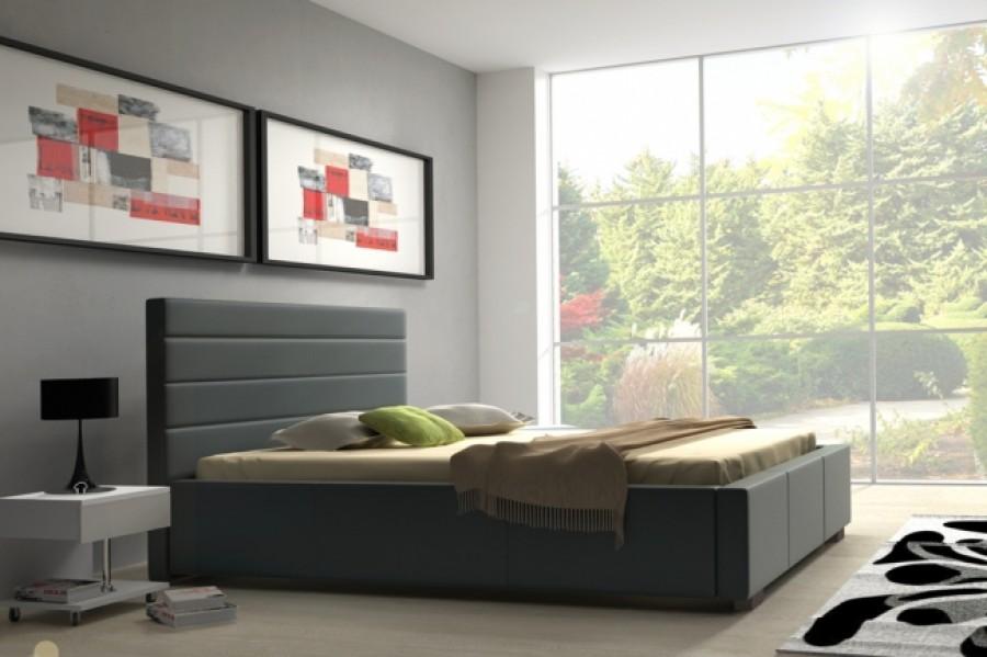 Łóżko tapicerowane Lille z pojemnikiem