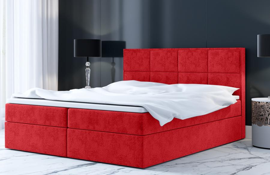 Łóżko kontynentalne MOLDE czerwone casablanca