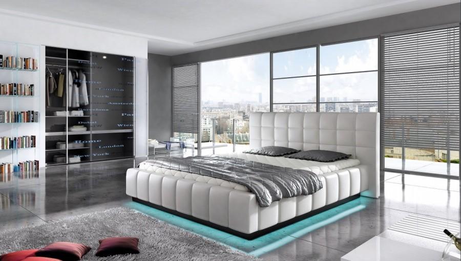 łóżko Tapicerowane Aube Z Pojemnikiem łóżka Materace