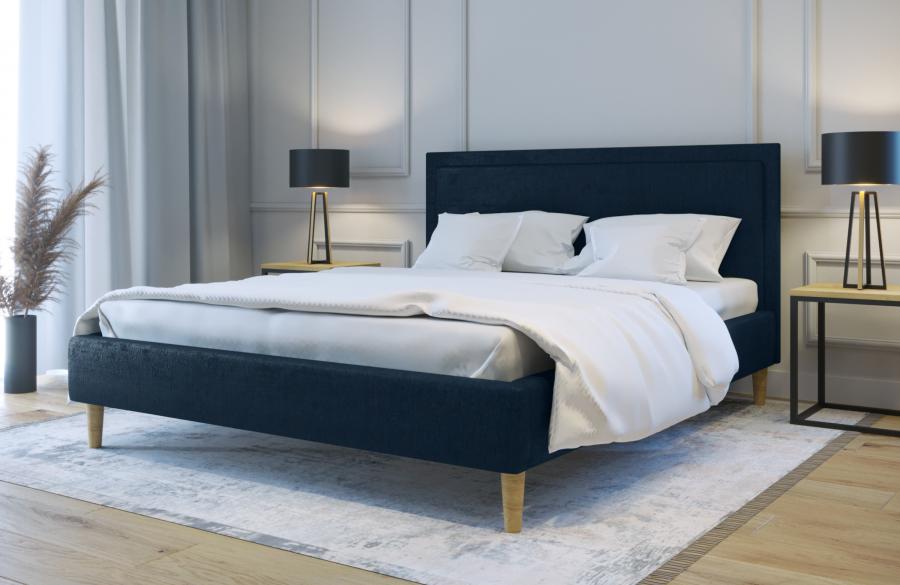 Łóżko tapicerowane HORTEN granatowe monolith