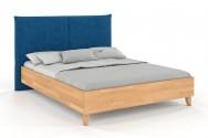 Łóżko drewniane Xawier z tapicerowanym zagłówkiem Buk naturalny
