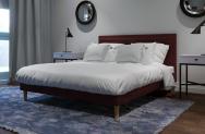 Łóżko tapicerowane HORTEN czerwone monolith