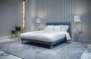 Łóżko tapicerowane HORTEN niebieskie monolith