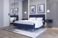 Łóżko tapicerowane HORTEN granatowe sawana
