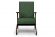 Fotel SAPET zielony/ciemny orzech