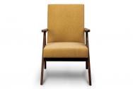Fotel SAPET  żółty/ciemny orzech