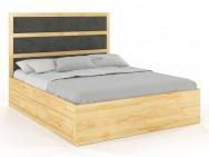 Łóżko drewniane Magnum z szufladami i zagłówkiem Sosna