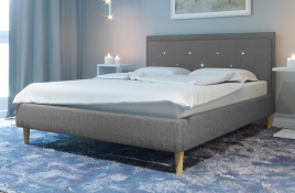 Łóżko tapicerowane SANTANA szare monolith