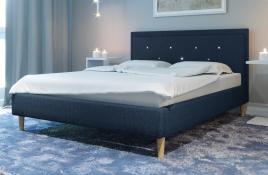 Łóżko tapicerowane SANTANA granatowe monolith