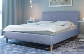 Łóżko tapicerowane SANTANA niebieskie monolith