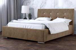 Łóżko tapicerowane ALMADA beżowe monolith