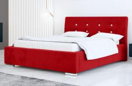 Łóżko tapicerowane ALMADA czerwony casablanca