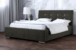 Łóżko tapicerowane ALMADA ciemnoszare monolith