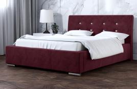 Łóżko tapicerowane ALMADA czerwone monolith