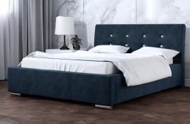 Łóżko tapicerowane ALMADA granatowe monolith