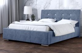 Łóżko tapicerowane ALMADA niebieskie monolith