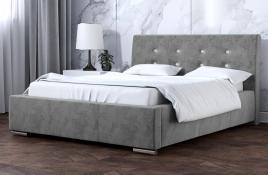 Łóżko tapicerowane ALMADA szare monolith