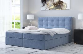 Łóżko kontynentalne ASKIM niebieskie monolith