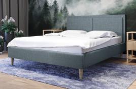 Łóżko tapicerowane BRAGA niebieskie sawana