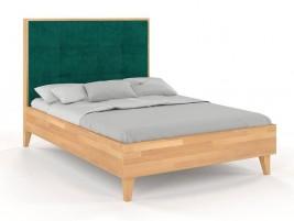 Łóżko drewniane RIDA z tapicerowanym zagłówkiem Buk