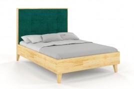 Łóżko drewniane RIDA z tapicerowanym zagłówkiem Sosna