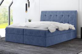Łóżko kontynentalne HAMAR niebieskie monolith
