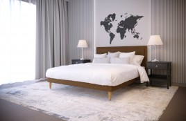 Łóżko tapicerowane HORTEN beżowe monolith