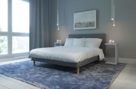 Łóżko tapicerowane HORTEN szare monolith