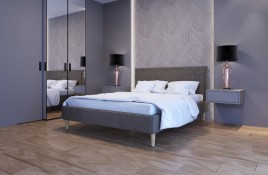 Łóżko tapicerowane HORTEN beżowe sawana