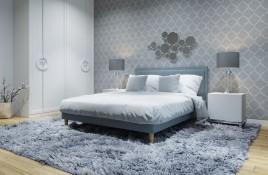 Łóżko tapicerowane HORTEN niebieskie sawana