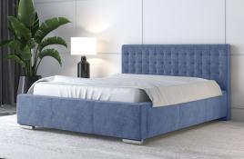 Łóżko tapicerowane LAGOS niebieskie monolith