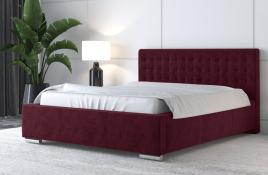Łóżko tapicerowane LAGOS czerwone monolith