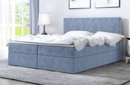 Łóżko kontynentalne HALDEN niebieskie monolith