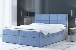 Łóżko kontynentalne MOLDE niebieskie monolith
