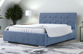 Łóżko tapicerowane MOSS niebieskie monolith