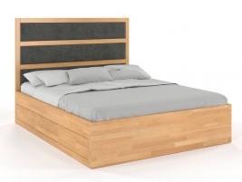Łóżko drewniane Magnum z szufladami i zagłówkiem Buk