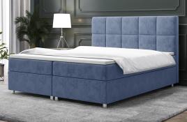 Łóżko kontynentalne NAZARE niebieskie monolith