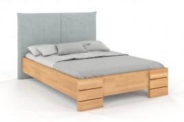 Łóżko drewniane SANTA z tapicerowanym zagłówkiem buk