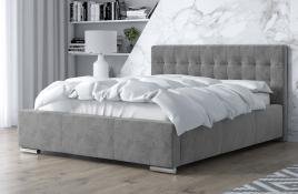 Łóżko tapicerowane SINES szare monolith