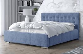 Łóżko tapicerowane SINES niebieski monolith