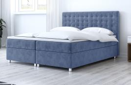Łóżko kontynentalne TROMSO niebieskie monolith