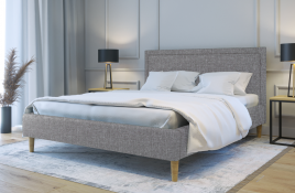 Łóżko tapicerowane HORTEN szare sawana