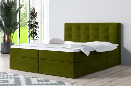Łóżko kontynentalne ASKIM zielone casablanca