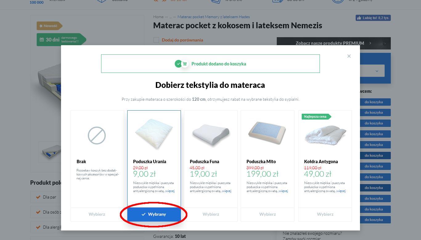 zdjęcie strony z doborem dodatków do wybranego produktu